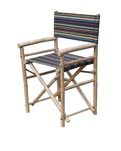 ZEW, Inc. Pair of Outdoor Bamboo Director Chairs with Interchangeable Covers, Indigo Stripes/White