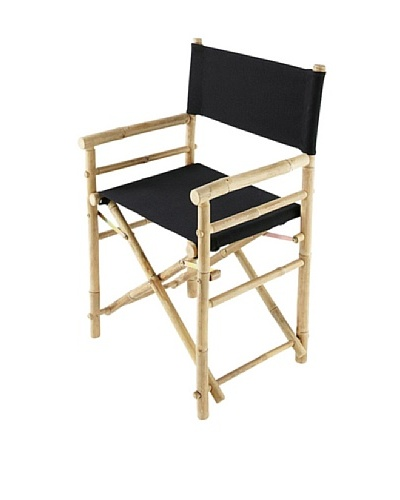 ZEW, Inc. Pair of Outdoor Bamboo Director Chairs with Interchangeable Covers, Black /Indigo Stripes