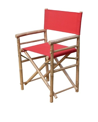ZEW, Inc. Pair of Outdoor Bamboo Director Chairs with Slings, Red/White