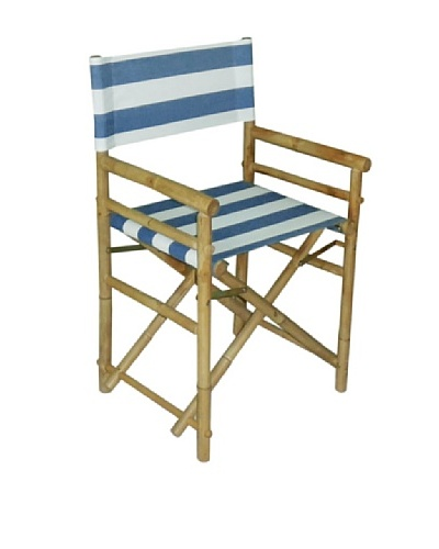 ZEW, Inc. Pair of Outdoor Bamboo Director Chairs with Slings, Navy & White Stripes/White