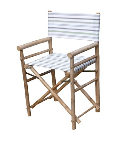 ZEW, Inc. Pair of Outdoor Bamboo Director Chairs with Interchangeable Covers, Pale Stripes/White