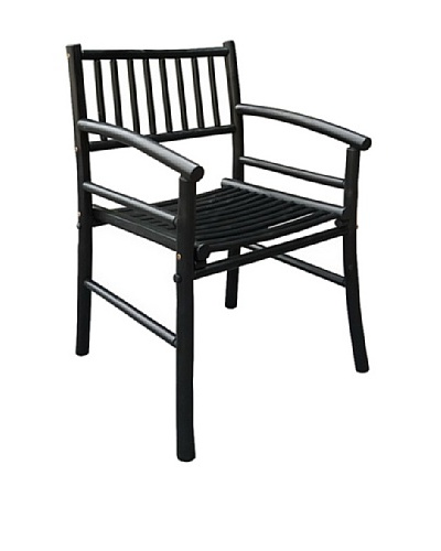 ZEW, Inc. Indoor Bamboo Armchair, Black