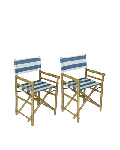 ZEW, Inc. Pair of Outdoor Bamboo Director Chairs with Interchangeable Covers, Navy & White Stripes/W...