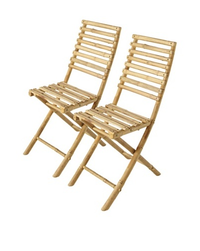ZEW, Inc. Set of 2 Outdoor Bamboo Collapsible Chairs