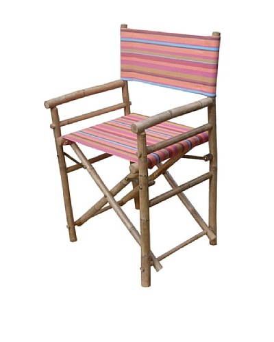 ZEW, Inc. Pair of Outdoor Bamboo Director Chairs with Interchangeable Covers, Red Stripes/White