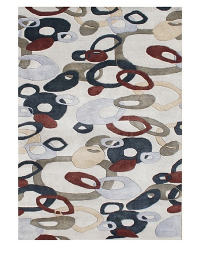 Znz Rugs Gallery Handmade Tufted New Zealand Blend Wool Rug, Oatmeal/Caviar/Rosewood/Sand, 5' x 8'