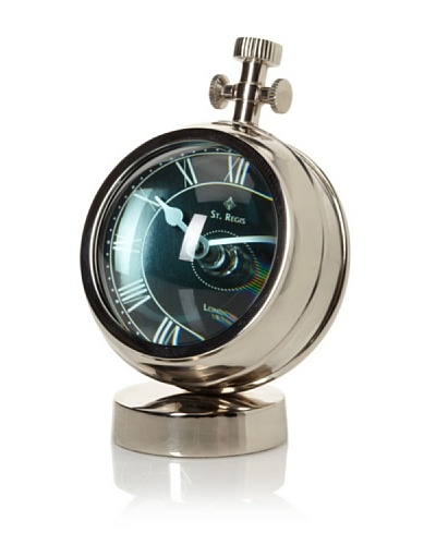 Black Faced Table Clock w/Fish Eye Glass