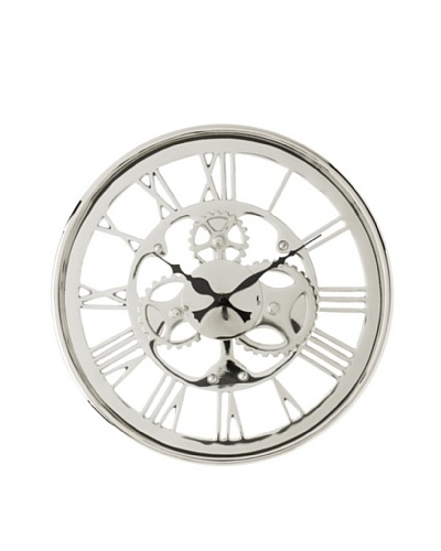 Regatta Wall Clock with Gears, Polished Nickel