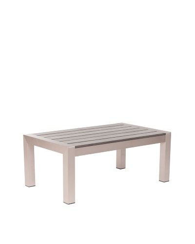 Zuo Outdoor Cosmopolitan Coffee Table, Brushed Aluminum