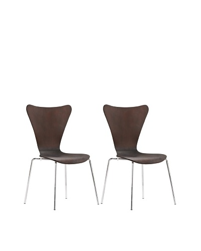 Zuo Set of 2 Taffy Dining Chairs, Wenge