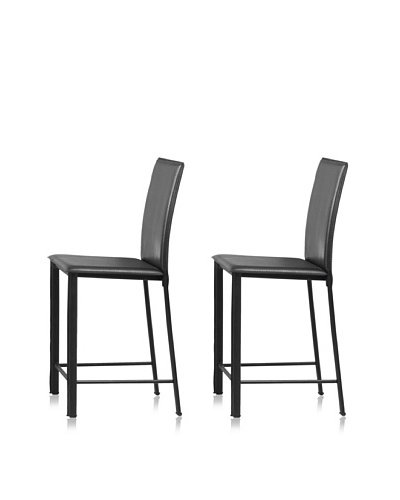 Zuo Set of 2 Arcane Counter Chairs [Black]