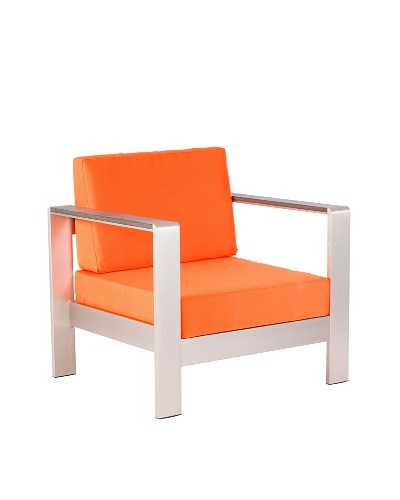 Zuo Outdoor Cosmopolitan Armchair with Cushions, Orange