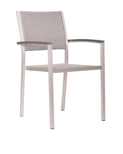 Zuo Outdoor Metropolitan Armchair, Brushed Aluminum
