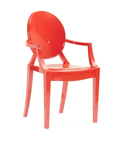 Zuo Set of 4 Anime Stacking Outdoor Dining Chairs [Red]