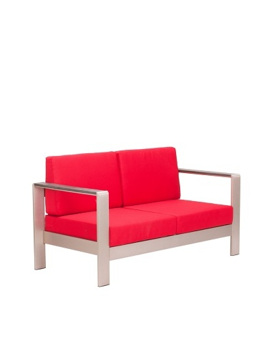 Zuo Outdoor Cosmopolitan Sofa with Cushions, Red
