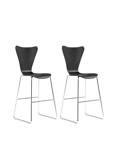 Zuo Set of 2 Taffy Bar Chairs [Black]