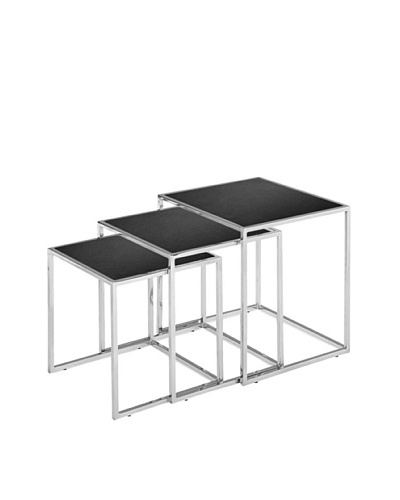 Zuo Pasos Nesting Table, Black/Chrome