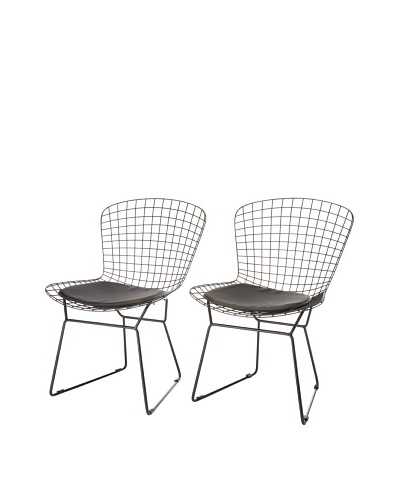 Zuo Set of 2 Wire Dining Chairs, Black