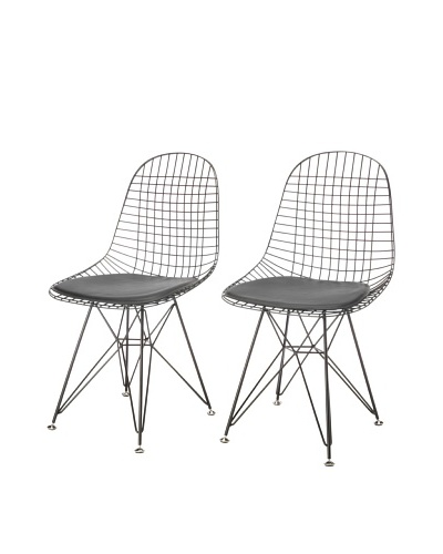 Zuo Set of 2 Mesh on Frame Dining Chairs, Black